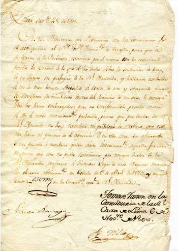 O'HIGGINS, Ambrose. Marquis of Osorno. Autograph Letter Signed dated at Lima October 29, 1800.