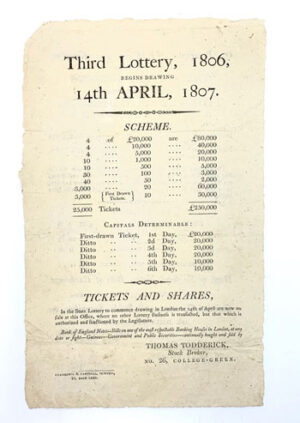 The Third Lottery Conducted by Thomas Todderick.