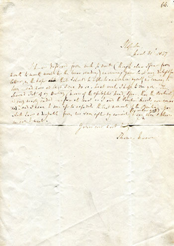 Thomas Moore & Mary Shelley Autograph Letter signed from dated at Sloperton, March 31st 1837.