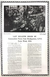 PEARSE, P.H. Last Bulletin issued by Commandant Pearse from Headquarters, G.P.O.,Easter Week 1916